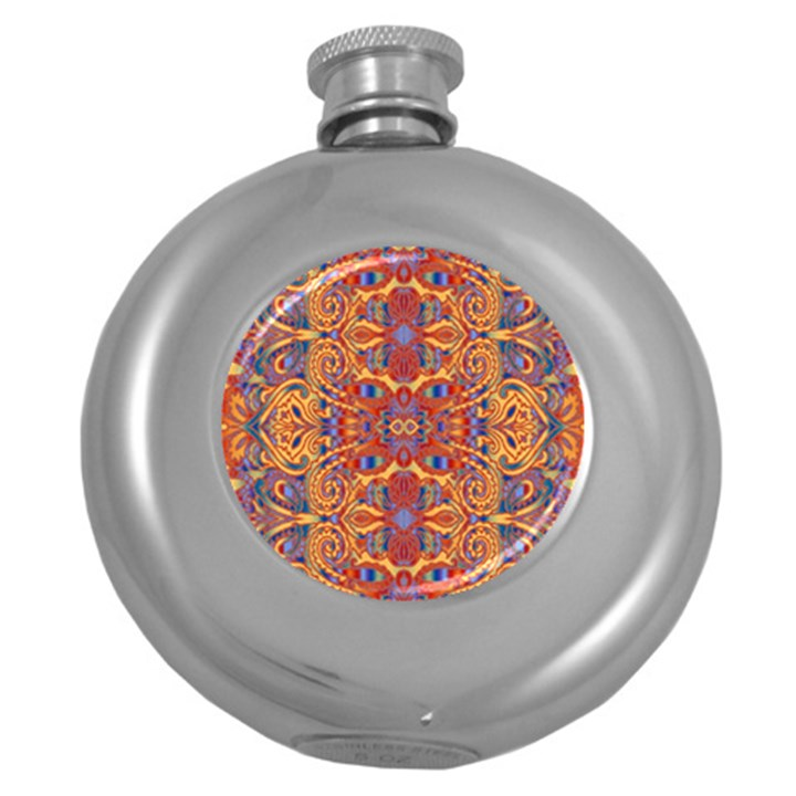 Oriental Watercolor Ornaments Kaleidoscope Mosaic Round Hip Flask (5 oz)