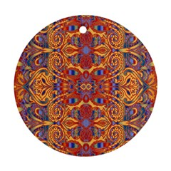 Oriental Watercolor Ornaments Kaleidoscope Mosaic Round Ornament (two Sides)