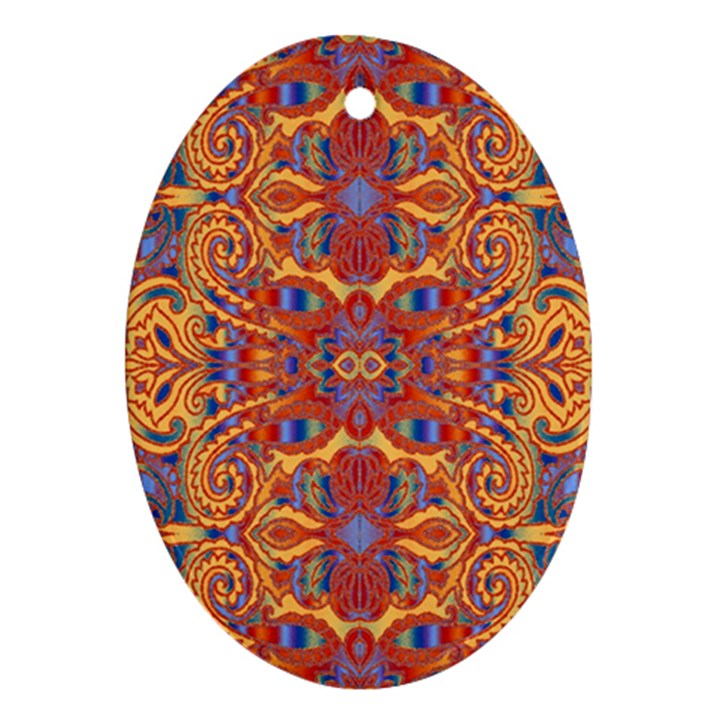 Oriental Watercolor Ornaments Kaleidoscope Mosaic Oval Ornament (Two Sides)
