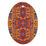 Oriental Watercolor Ornaments Kaleidoscope Mosaic Oval Ornament (Two Sides) Back