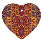 Oriental Watercolor Ornaments Kaleidoscope Mosaic Heart Ornament (2 Sides) Back