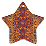 Oriental Watercolor Ornaments Kaleidoscope Mosaic Star Ornament (Two Sides)  Front