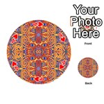 Oriental Watercolor Ornaments Kaleidoscope Mosaic Playing Cards 54 (Round)  Front - Heart4