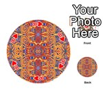 Oriental Watercolor Ornaments Kaleidoscope Mosaic Playing Cards 54 (Round)  Front - Heart8