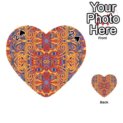 Oriental Watercolor Ornaments Kaleidoscope Mosaic Playing Cards 54 (Heart)