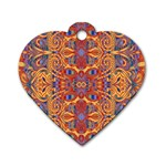Oriental Watercolor Ornaments Kaleidoscope Mosaic Dog Tag Heart (One Side) Front