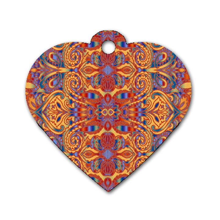 Oriental Watercolor Ornaments Kaleidoscope Mosaic Dog Tag Heart (One Side)