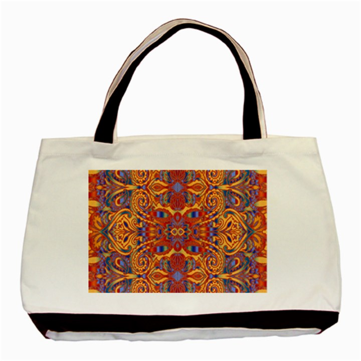 Oriental Watercolor Ornaments Kaleidoscope Mosaic Basic Tote Bag (Two Sides)