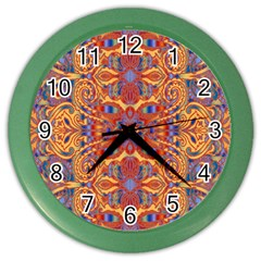 Oriental Watercolor Ornaments Kaleidoscope Mosaic Color Wall Clocks