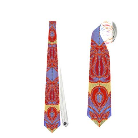 Oriental Watercolor Ornaments Kaleidoscope Mosaic Neckties (Two Side)