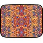 Oriental Watercolor Ornaments Kaleidoscope Mosaic Double Sided Fleece Blanket (Mini)  35 x27 Blanket Back