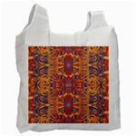 Oriental Watercolor Ornaments Kaleidoscope Mosaic Recycle Bag (Two Side)  Front