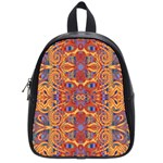 Oriental Watercolor Ornaments Kaleidoscope Mosaic School Bags (Small)  Front