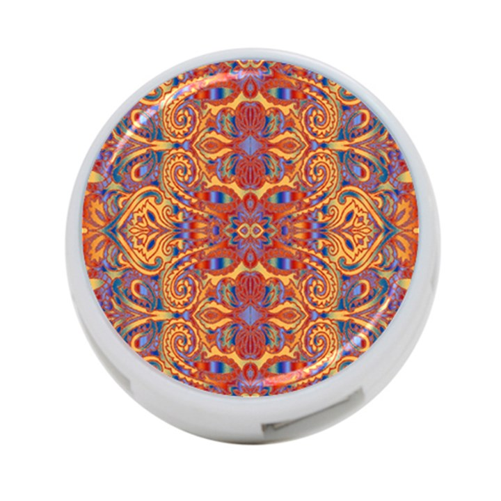 Oriental Watercolor Ornaments Kaleidoscope Mosaic 4-Port USB Hub (Two Sides)