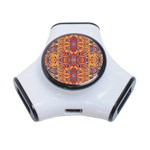 Oriental Watercolor Ornaments Kaleidoscope Mosaic 3-Port USB Hub Front
