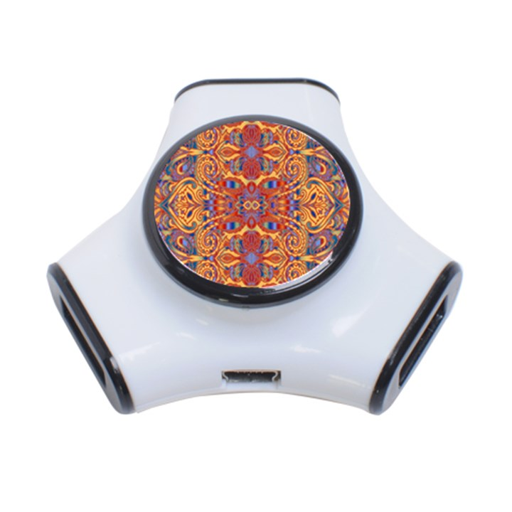 Oriental Watercolor Ornaments Kaleidoscope Mosaic 3-Port USB Hub