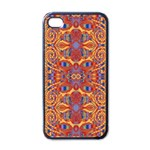 Oriental Watercolor Ornaments Kaleidoscope Mosaic Apple iPhone 4 Case (Black) Front