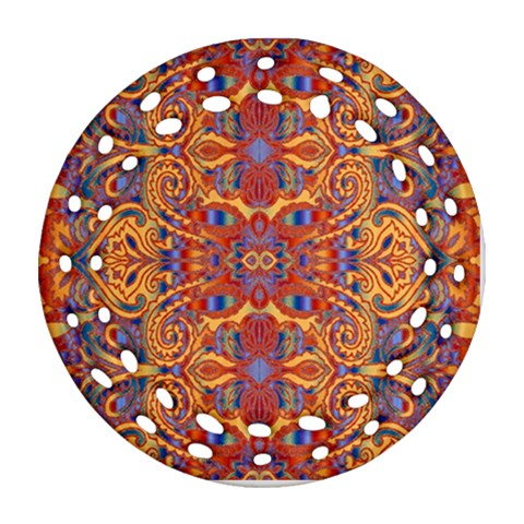 Oriental Watercolor Ornaments Kaleidoscope Mosaic Ornament (Round Filigree)