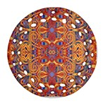 Oriental Watercolor Ornaments Kaleidoscope Mosaic Round Filigree Ornament (2Side) Front