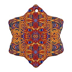 Oriental Watercolor Ornaments Kaleidoscope Mosaic Snowflake Ornament (2 Side)