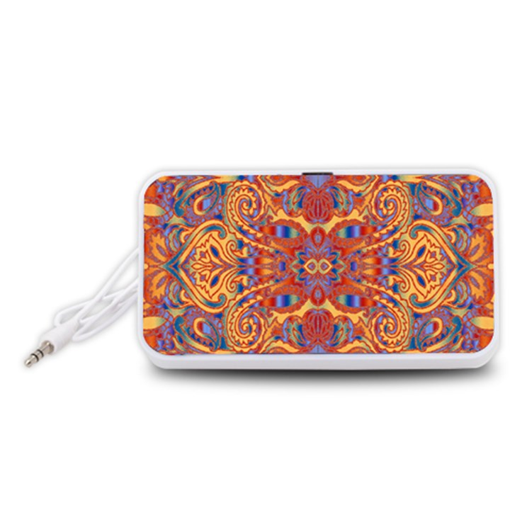 Oriental Watercolor Ornaments Kaleidoscope Mosaic Portable Speaker (White)