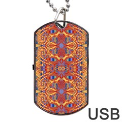 Oriental Watercolor Ornaments Kaleidoscope Mosaic Dog Tag Usb Flash (one Side)