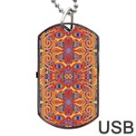 Oriental Watercolor Ornaments Kaleidoscope Mosaic Dog Tag USB Flash (Two Sides)  Front
