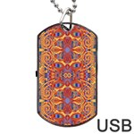 Oriental Watercolor Ornaments Kaleidoscope Mosaic Dog Tag USB Flash (Two Sides)  Back
