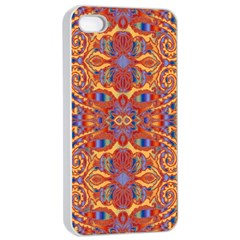 Oriental Watercolor Ornaments Kaleidoscope Mosaic Apple iPhone 4/4s Seamless Case (White)