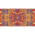 Oriental Watercolor Ornaments Kaleidoscope Mosaic Twin Heart Bottom 3D Greeting Card (8x4) Back