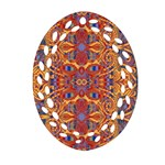 Oriental Watercolor Ornaments Kaleidoscope Mosaic Ornament (Oval Filigree)  Front