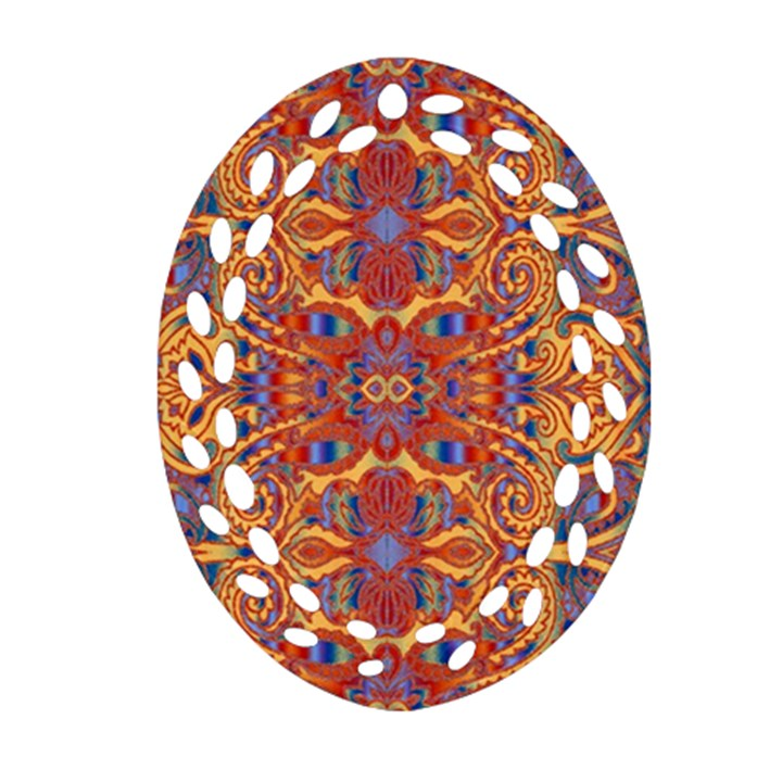 Oriental Watercolor Ornaments Kaleidoscope Mosaic Ornament (Oval Filigree)