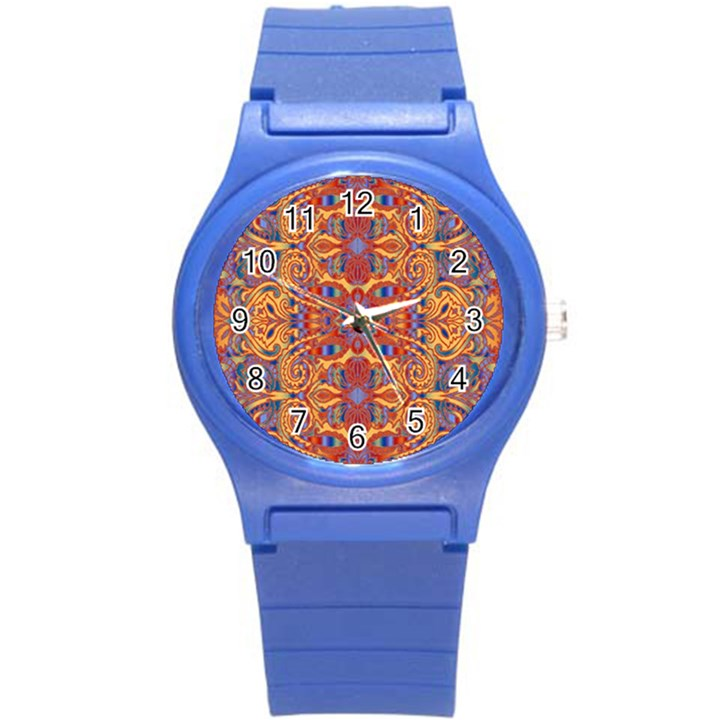 Oriental Watercolor Ornaments Kaleidoscope Mosaic Round Plastic Sport Watch (S)