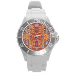 Oriental Watercolor Ornaments Kaleidoscope Mosaic Round Plastic Sport Watch (L) Front