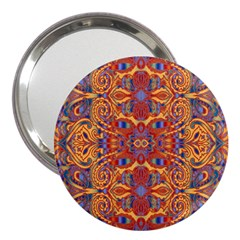 Oriental Watercolor Ornaments Kaleidoscope Mosaic 3  Handbag Mirrors