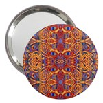 Oriental Watercolor Ornaments Kaleidoscope Mosaic 3  Handbag Mirrors Front