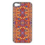 Oriental Watercolor Ornaments Kaleidoscope Mosaic Apple iPhone 5 Case (Silver) Front