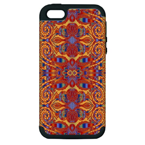 Oriental Watercolor Ornaments Kaleidoscope Mosaic Apple iPhone 5 Hardshell Case (PC+Silicone)
