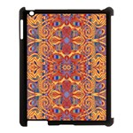 Oriental Watercolor Ornaments Kaleidoscope Mosaic Apple iPad 3/4 Case (Black) Front