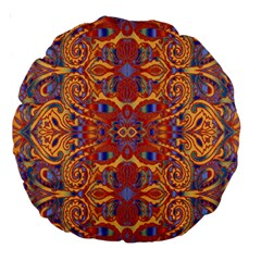 Oriental Watercolor Ornaments Kaleidoscope Mosaic Large 18  Premium Round Cushions