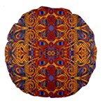 Oriental Watercolor Ornaments Kaleidoscope Mosaic Large 18  Premium Round Cushions Back
