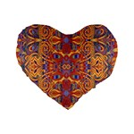 Oriental Watercolor Ornaments Kaleidoscope Mosaic Standard 16  Premium Heart Shape Cushions Front