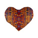 Oriental Watercolor Ornaments Kaleidoscope Mosaic Standard 16  Premium Heart Shape Cushions Back