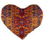 Oriental Watercolor Ornaments Kaleidoscope Mosaic Large 19  Premium Heart Shape Cushions Front