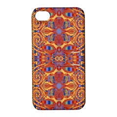Oriental Watercolor Ornaments Kaleidoscope Mosaic Apple Iphone 4/4s Hardshell Case With Stand