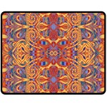 Oriental Watercolor Ornaments Kaleidoscope Mosaic Double Sided Fleece Blanket (Medium)  60 x50 Blanket Front