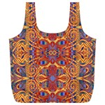 Oriental Watercolor Ornaments Kaleidoscope Mosaic Full Print Recycle Bags (L)  Back