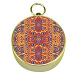 Oriental Watercolor Ornaments Kaleidoscope Mosaic Gold Compasses Front