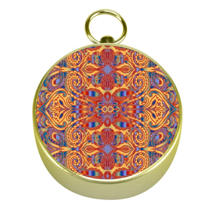 Oriental Watercolor Ornaments Kaleidoscope Mosaic Gold Compasses