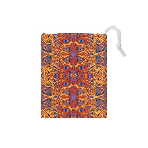 Oriental Watercolor Ornaments Kaleidoscope Mosaic Drawstring Pouches (Small)